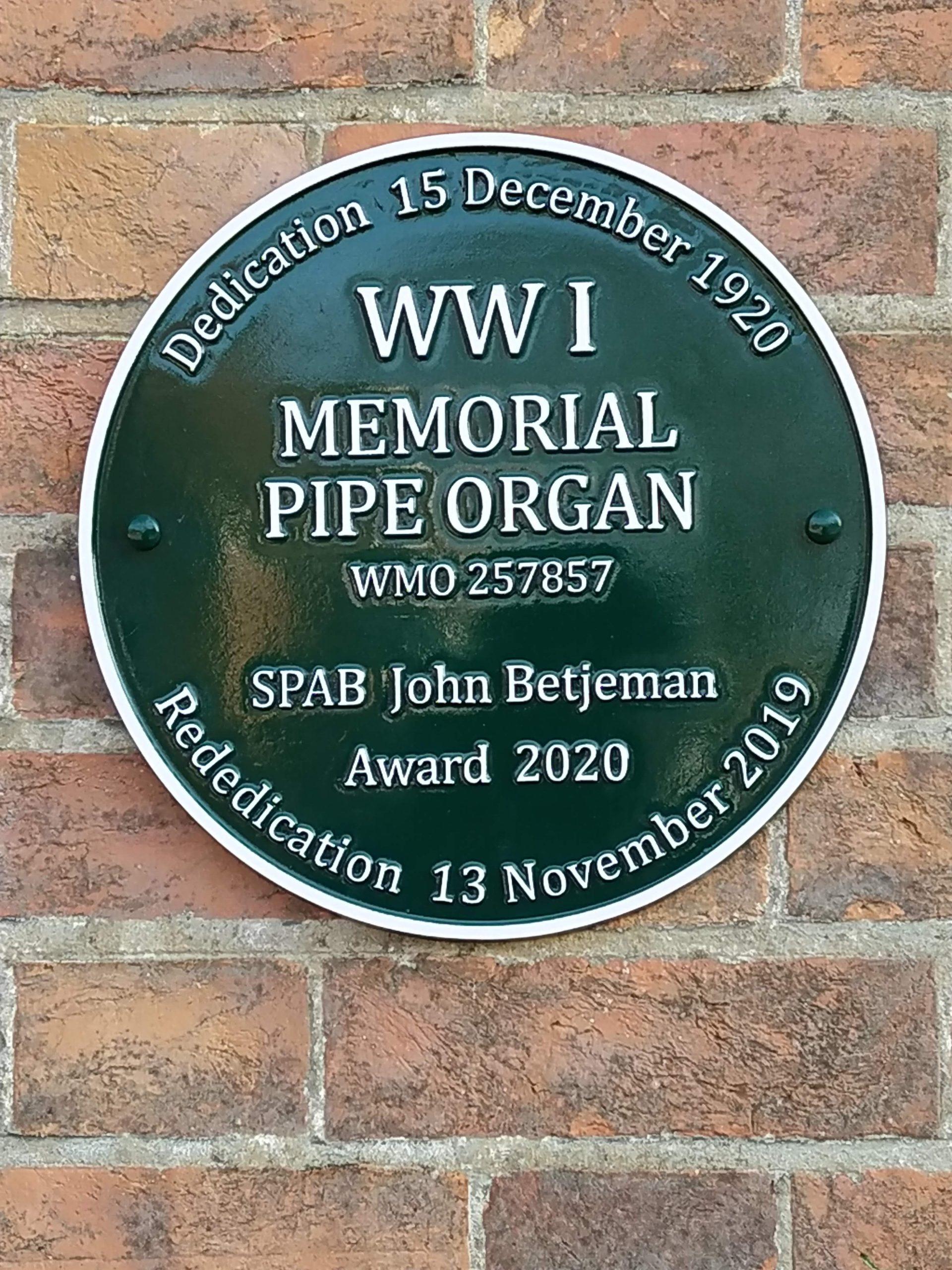 World War One Memorial Pipe Organ John Betjeman Award